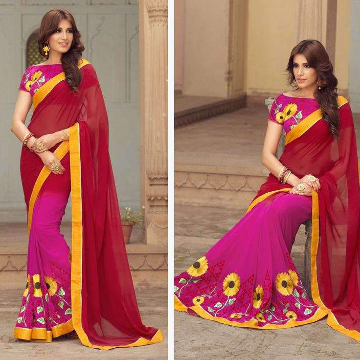 Pure Georgette Bollywood Indian Designer Wedding Party New Saree Sari Blouse  #Shoppingover #Saree