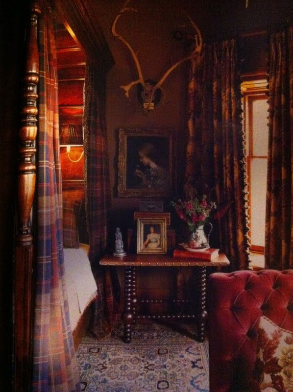 Ward Denton and Christopher Gardner blended tartan with velvet, florals and Persian carpeting in the Master bedroom in the Glen Feshie Lodge