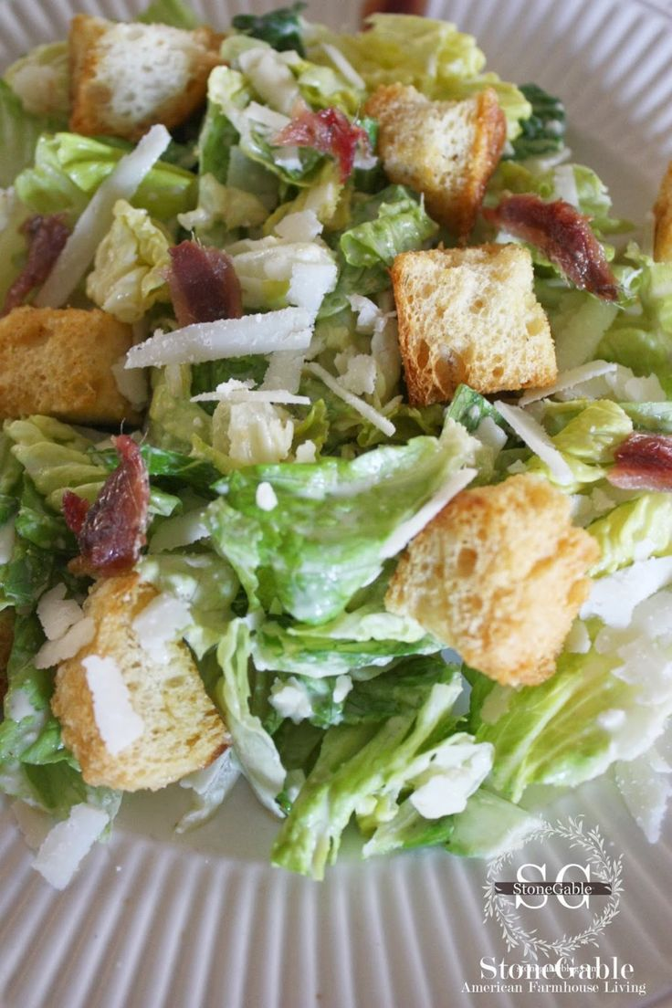 StoneGable Caesar Salad - This is good...garlickly. But watch the dressing amount. A little goes a long way. Loved the homemade croutons. Didn't use anchovies, wished for a hint more seasoning to the salad. But overall, an A