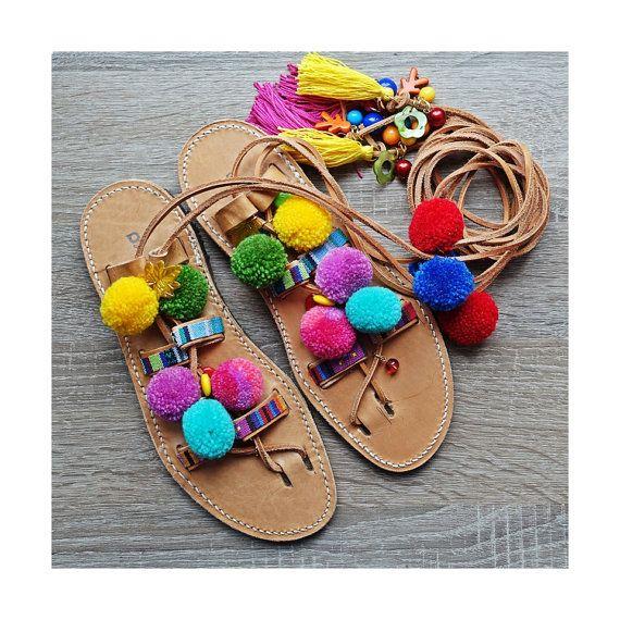 Stile boho IBIZA II Sandali sandali greci pom poms di MrOsOutache