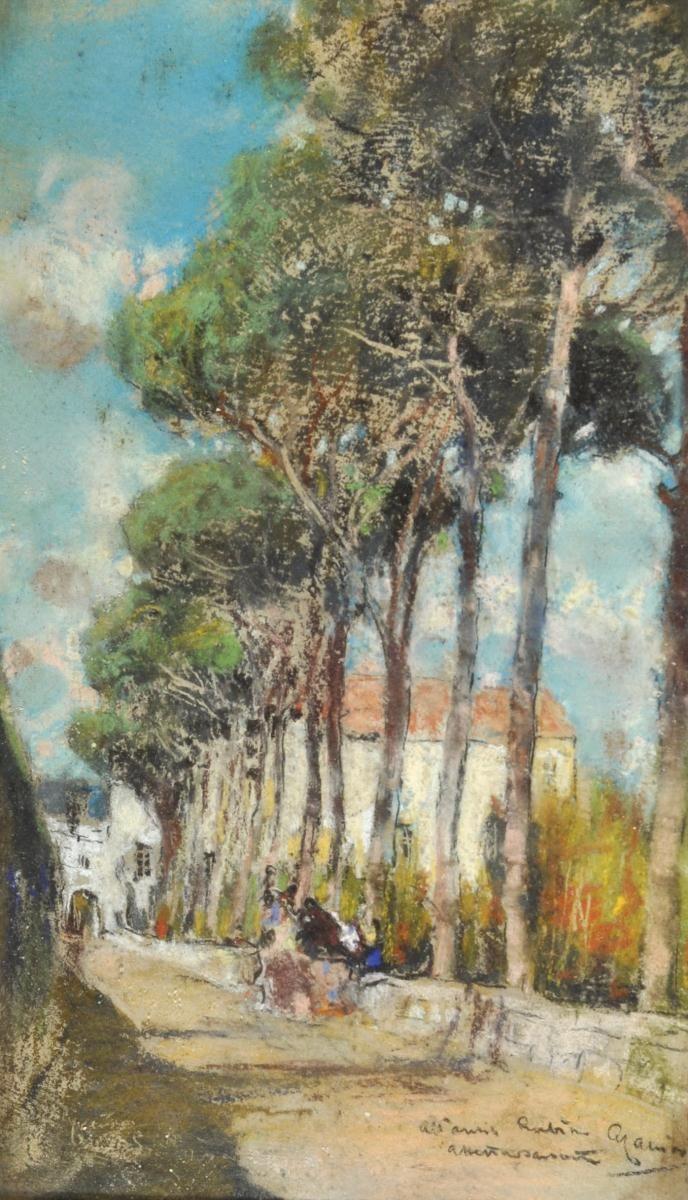Casciaro Giuseppe (Ortelle, LE 1863 - Napoli 1941) Viale alberato pastelli su carta cm 25x15