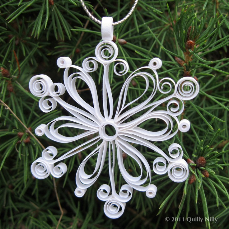 Set of 3, Quilled Snowflake Ornaments in Decorative Tin, First Snowfall Collection. $24.00, via Etsy.