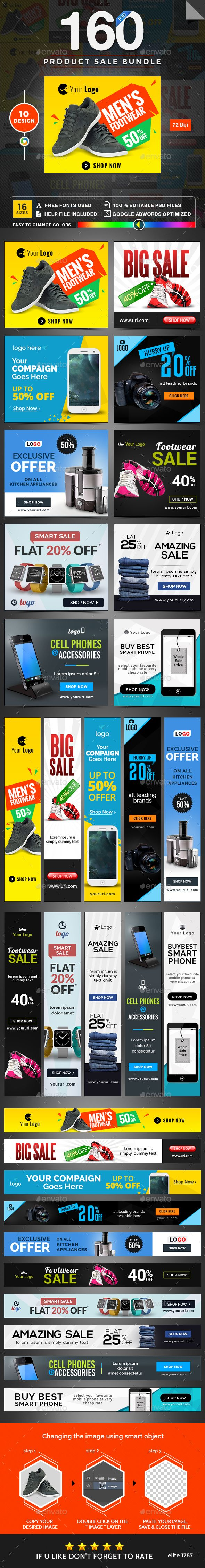 Product Sale Banner Templates PSD Bundle - 10 Sets - 160 Banners