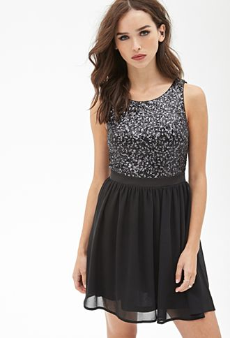 Sequined Fit & Flare Dress   FOREVER21   New Years Eve