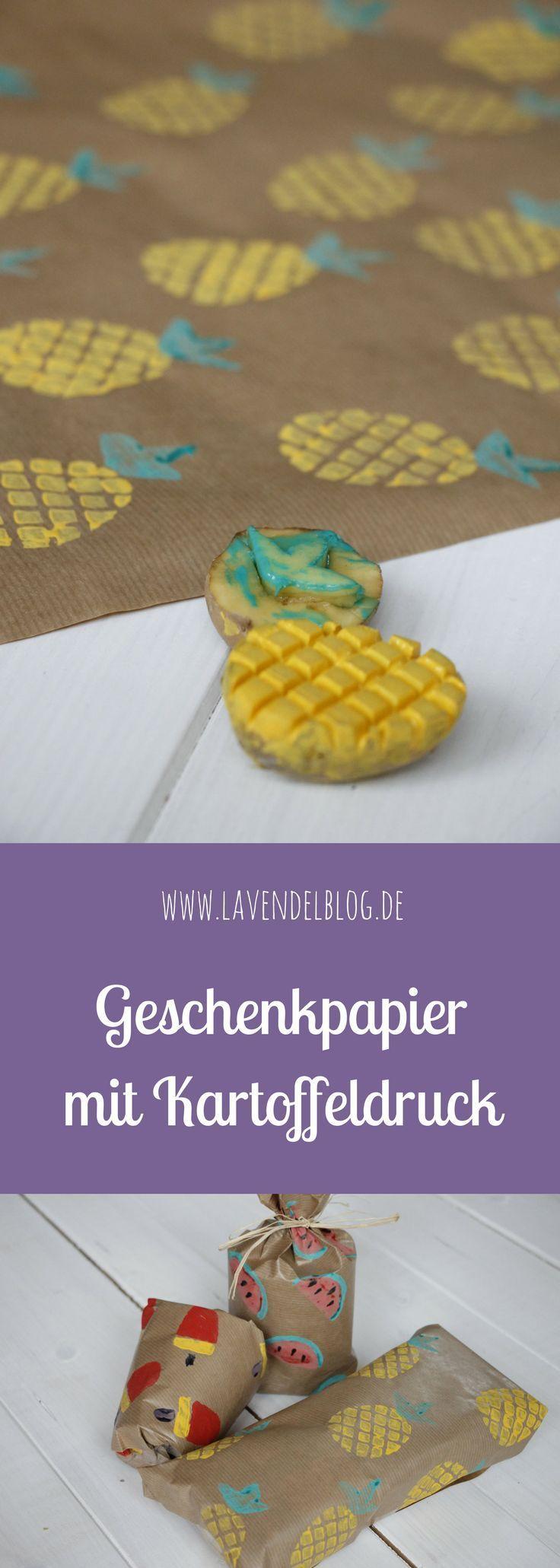 DIY-Idee: Geschenkpapier mit Kartoffeldruck selbermachen