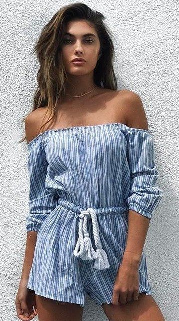 #summer #outfits  Blue Striped Off The Shoulder Romper
