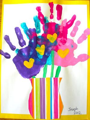 handprint flowers in a vase. Great project for spring or mother's Day.