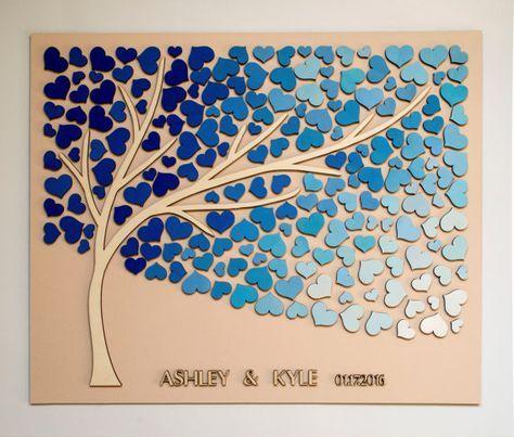 3D Wedding guest book alternative tree wood by HAPPYprojectSHOP