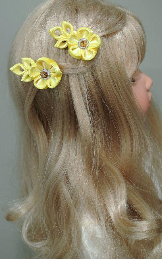 Yellow Blossom Kanzashi Fabric Flowers with Swarovski by Dianabows