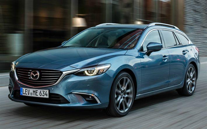 Download imagens Mazda 6 Vagão, 2017 carros, movimento, Mazda6, Mazda