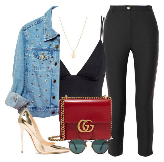 """""""Untitled #2581"""" by camila-echi ❤ liked on Polyvore featuring Pierre Balmain, H&M, Laura Lee, High Heels Suicide, Gucci, Jimmy Choo and Ray-Ban"""