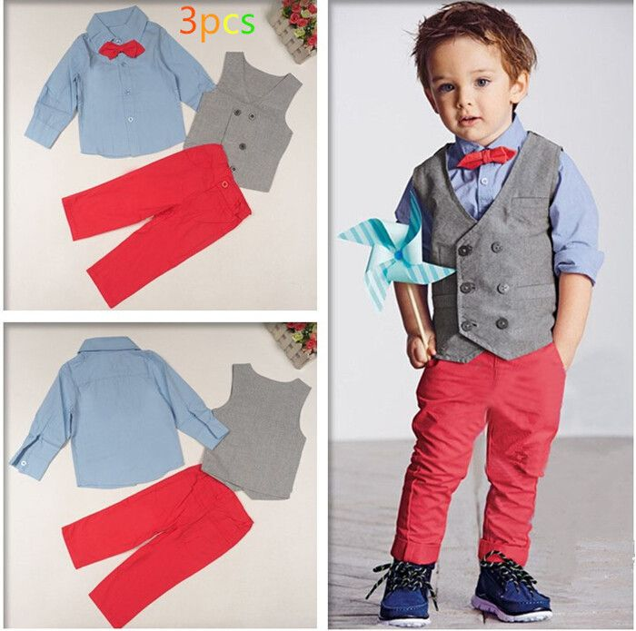 35772079ed5b Kids 3 Piece Outfit Suit Grey Waistcoat with Bow Tie Shirt and Pink ...