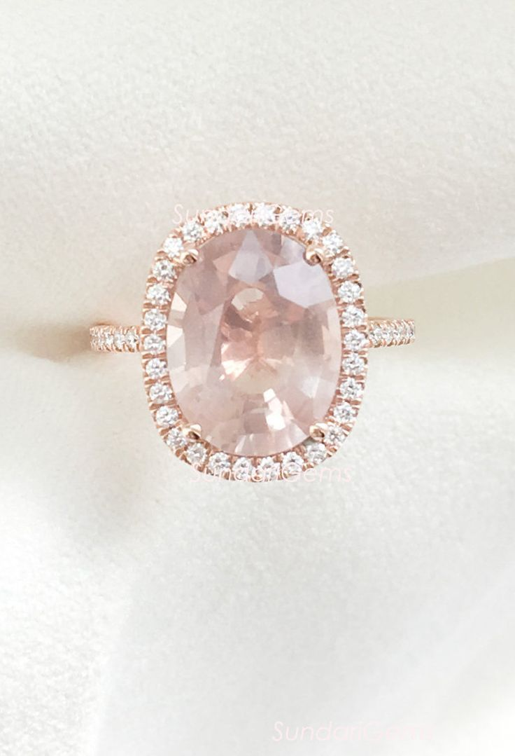 Champagne Peach Pink Sapphire & Diamond Cushion Halo Engagement Ring 14K Rose Gold
