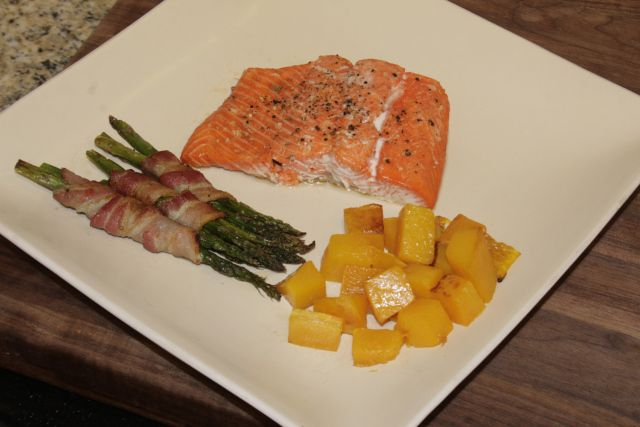 Salmon, squash and bacon wrapped asparagus dinner idea