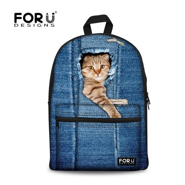 3D print cute cat women canvas backpack for teenage girls zoo animal school backpacks for student casual laptop denim bule bags