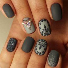 Beautiful evening nails, Evening dress nails, Evening nails, Festive nails, Half moonnails with rhinestones, Matte nails, Nails with curls, Nails with rhinestones