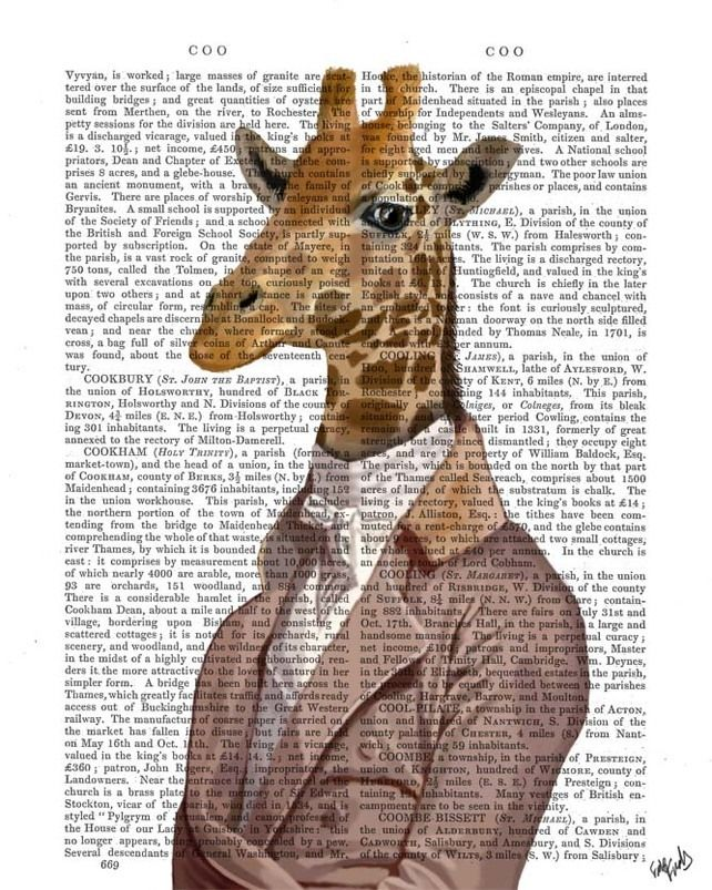 Regency Giraffe on Upcycled Dictionary Page, Giraffe Print £12.00