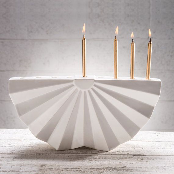 Hanukkah Menorah Modern geometric JudaicaWhite by StudioArmadillo