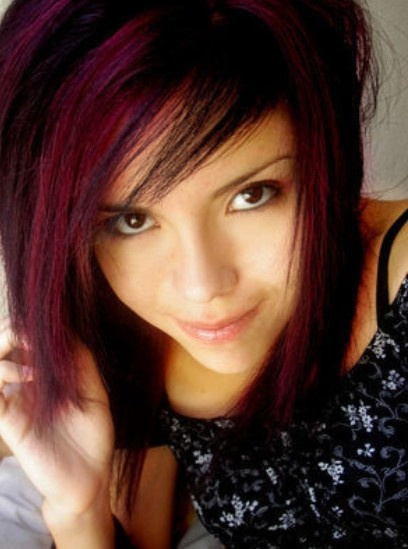 dark red emo hair