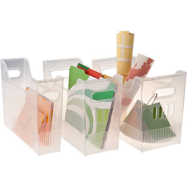 Love these bins in all sizes - small ones great for paper (computer and kids construction) middle ones in pantry and kids coloring books, large ones for kids craft kits.  More uses than I ever thought!