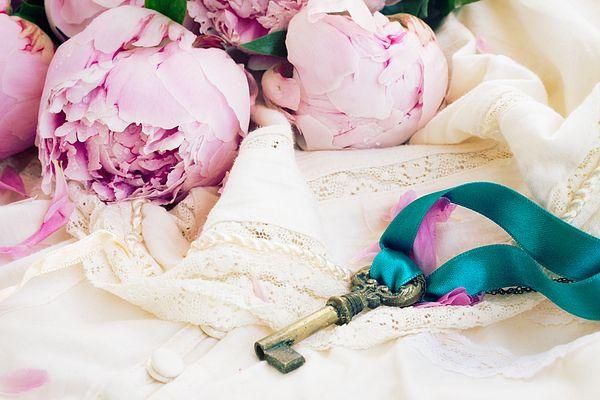 Key with peony flowers on vintage lace garment by Anastasy Yarmolovich #AnastasyYarmolovichFineArtPhotography  #ArtForHome #vintage