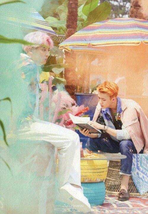 SeHun tão lindo lendo e o Hyung viajando aí sentado | Chanyeol & SeHun ❤❤