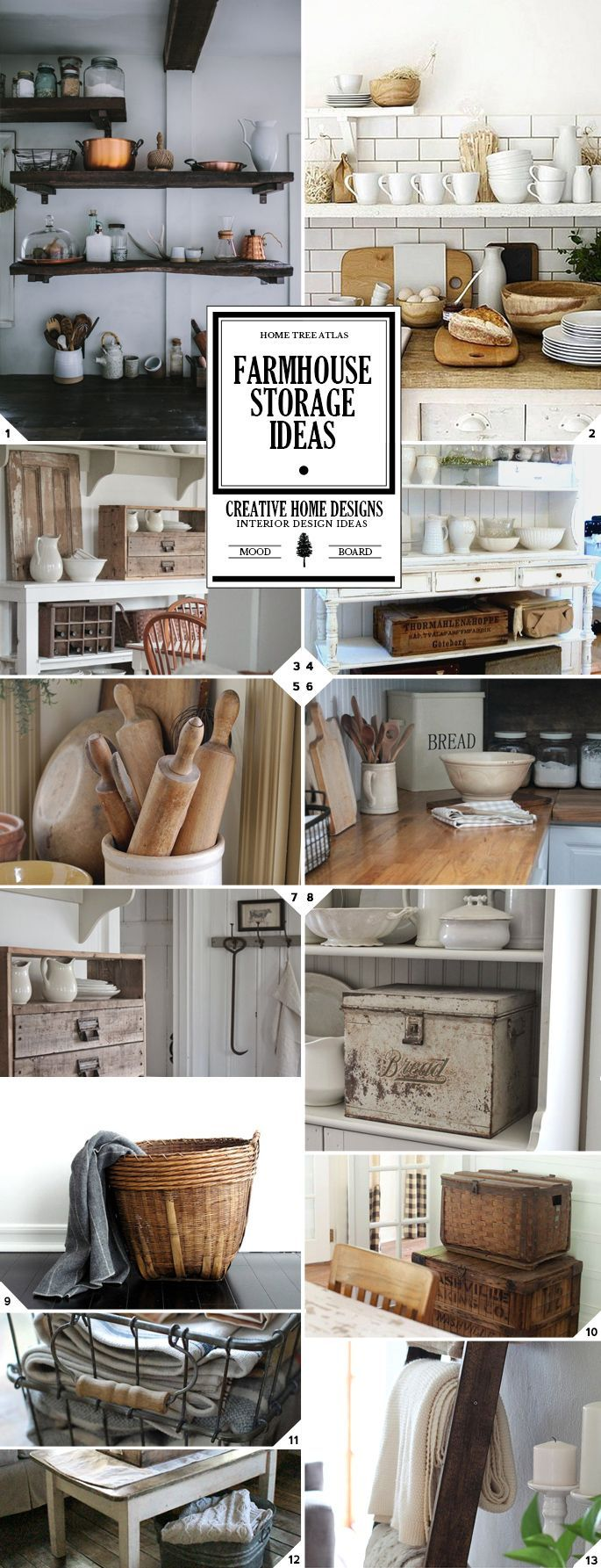 The farmhouse style will usually have a white base. So mostly everything is painted white, and then you'll have raw materials being used for the furniture, decor, and storage pieces. Open Storage In farmhouses you'll see that shelves are open, whether that is in the kitchen as seen in pictures (1) and (2), the bathroom, […]