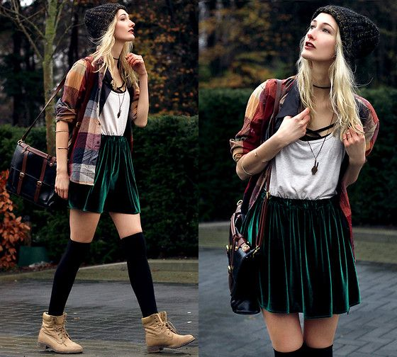 Get this look: http://lb.nu/look/7932148  More looks by Eva V: http://lb.nu/eviv  Items in this look:  Skirt, Top, Bag, Beanie, Blouse, Black Croptop, Bracelet, Piece Necklace   #edgy #grunge #street