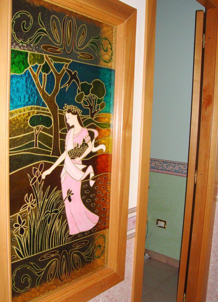 Vetrata artistica Primavera per abitazione privata.