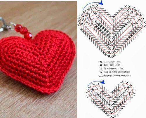 Tejido Facil: Patrón: Llavero de corazón con volumen