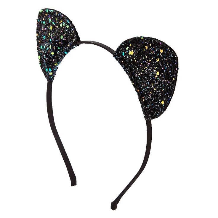 <P>Stay up to date with the trends by rocking this Black Glitter Cat Ears Headband. Emebllished with iredscent glitter, these black cat ears are fun for a party, festival, halloween costume, and much more. Embrace your inner feline.</P><UL><LI>Cat ears <LI>Thin band <LI>Fabric wrapped</LI></UL>