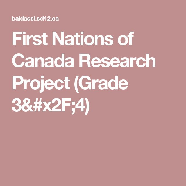 First Nations of Canada Research Project (Grade 3/4)