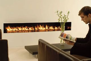 Ethanol Fireplace across the living room. Unique!