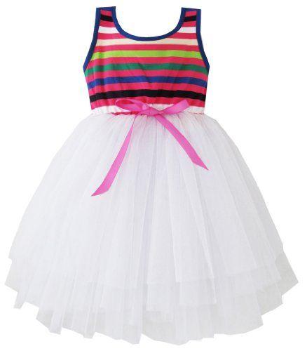 CF43 Girls Dress Clolorful White Tull Layers Children Clothing Size 7-8 Sunny Fashion,http://www.amazon.com/dp/B00B2GWBJ4/ref=cm_sw_r_pi_dp_zgMBsb1JTQRPG51Z