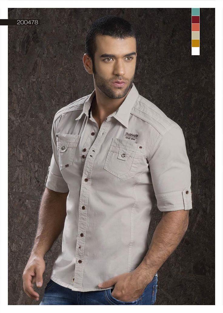 Camisa-para-hombre-color-arena-manga-tres-cuartos - sand-shirt-for-men- three-quarter-sleeves