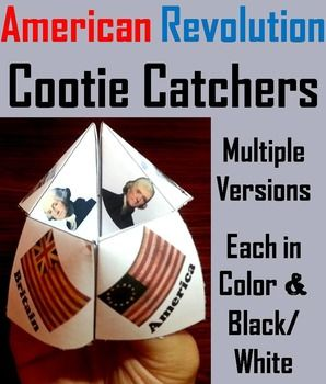 These cootie catchers/ fortune tellers are a great way for students to have fun while learning about the different historical figures, documents, and other terms associated with the Revolutionary War.
