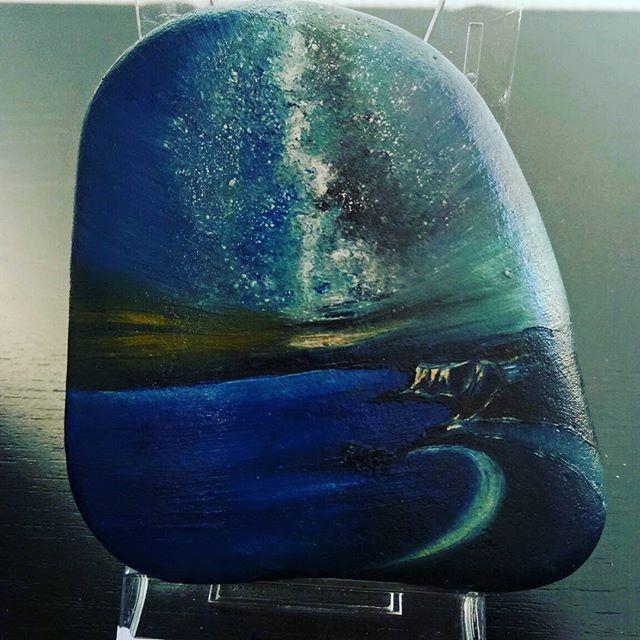 #landscape #milkyway #oilpainting #artonstones #painting #artist_unity_ #blue #sky #water