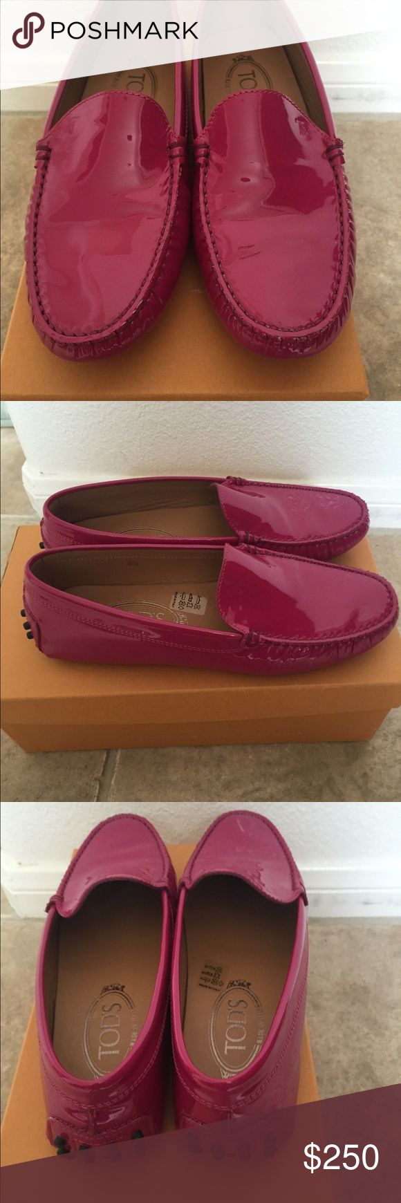 Tods patent leather driving loafer Never worn! Fuschia patent leather Tods driving shoe. Can send with box and dust bag. Tod's Shoes Flats & Loafers