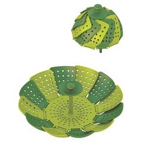 This classic, steamer basket design is taken to new levels of practicality and convenience with this colourful, contemporary version of Lotus™ non-scratch steamer basket. Made from high-quality polypropylene, the unit has self-adjusting sides to fit most pans, heat-resistant silicone feet and an innovative silicone finger guard. It has a large capacity when fully open, but folds neatly away for storage. The unit is non-scratch and suitable for use with both steel pans and non-stick ...