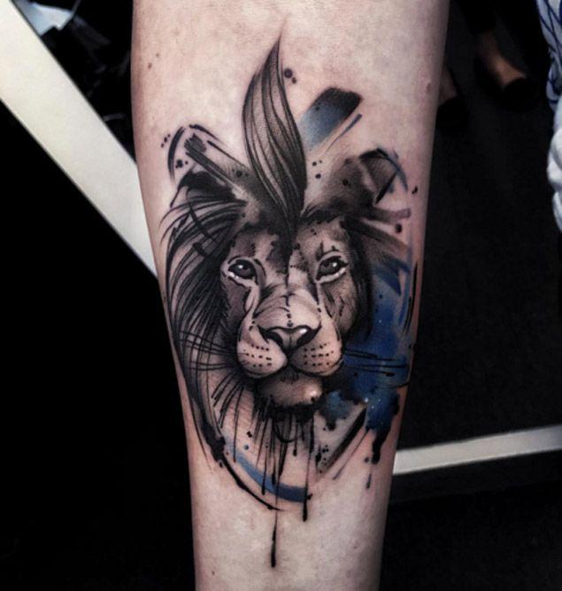 Watercolor Lion by Aleksandra Kozubska
