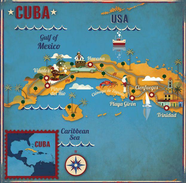 Carte illustrée de Cuba