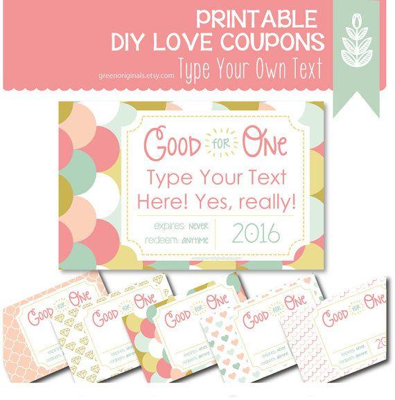 Printable editable coupon