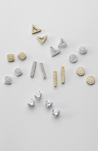 Love all of these sparkly stud earrings!