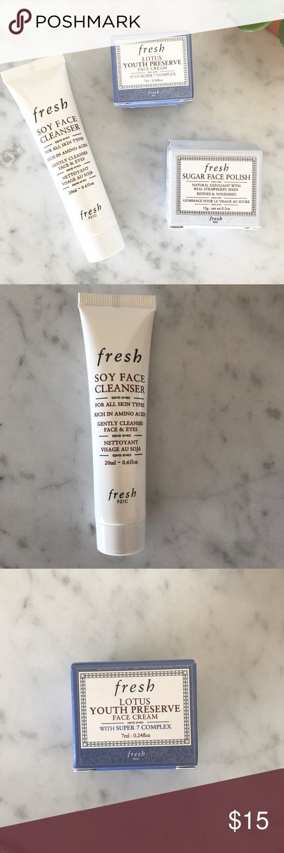 Sephora fresh travel essentials New travel sized deluxe minis by fresh. Soy face cleanser, lotus youth preserve face cream, and sugar face polish. The face cream is one of my personal favorites! Skin care samples included with purchase. No trades. Sephora Makeup
