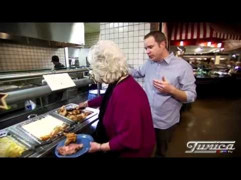 The queen of southern cooking Paula Deen takes you on a tour of her buffet inside Harrah's Casino Tunica.