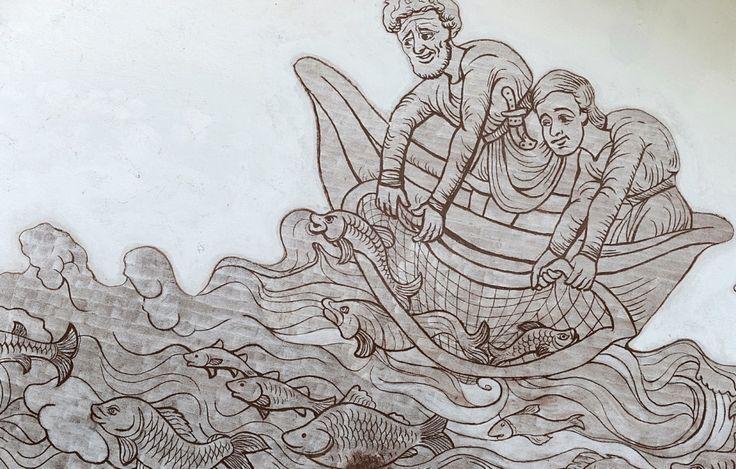 Malowidło naścienne w Czersku - kompozycja przedsta połów ryb (temat zakorzeniony w symbolice chrześcijańskiej i obrazujący tradycyjny, średniowieczny zawód praktykowany przez wieki w nadwiślańskich miejscowościach)
