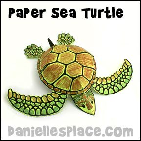Paper Sea Turtle Craft www.daniellesplace.com