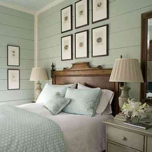 chambre à coucher style marin aux nuances pastel
