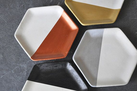 design CONCRETE JEWELRY DISH colorful minimalist home decor geometric modern unique fashion|