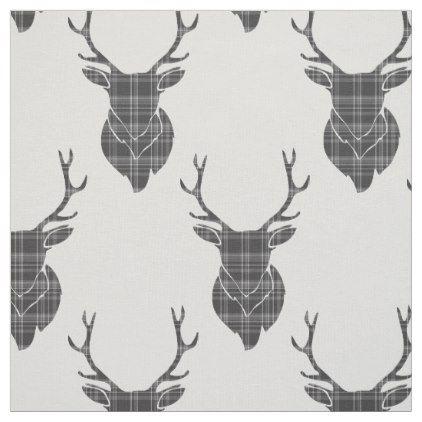 Grey Tartan Stag Head Antler Rustic Pattern Fabric - craft supplies diy custom design supply special
